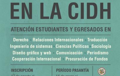 Pasantía para estudiantes y graduados en Diseño Gráfico en la Comisión Interamericana de Derechos Humanos