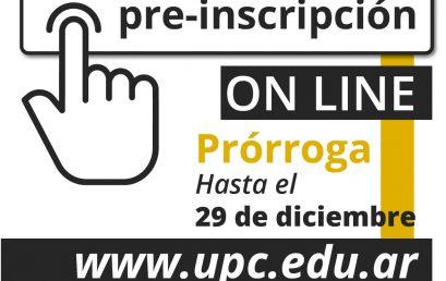 ¡Prórroga para las preinscripciones para el 2021 en la Universidad Provincial de Córdoba!
