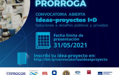 Prórroga para la Convocatoria Ideas-Proyectos I+D