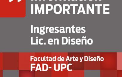 Información importante para el Cursillo de ingreso a la Lic. en Diseño