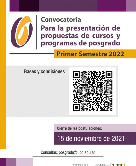 Convocatoria para la presentación de propuestas de cursos y programas de posgrado para el primer semestre 2022