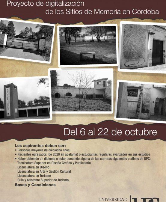 Convocatoria de Becas para estudiantes y recientes egresados: proyecto de digitalización de los Sitios de Memoria en Córdoba